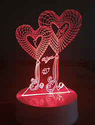 3D Acrylic LED Lamp Love Hearts Night Lights for Kids Room Decorative Lamps Remote Control Love You Quote Lights Lamps for Family Couple Love