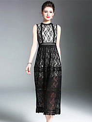 SUOQI Women Dresses Going out Party Slim Accept Waist A Line Dress Stand Collar Sleeveless Lace Dress Spring Summer