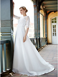 cheap -A-Line Jewel Neck Sweep / Brush Train Tulle Wedding Dress with Crystal Appliques by