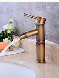 Moderno Installazione centrale Valvola in ceramica Una manopola Un foro for  Rame anticato , Lavandino rubinetto del bagno