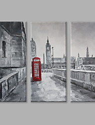 IARTS Oil Painting Modern Red Telephone Booth in The City Set of 3 Art Acrylic Canvas Wall Art For Home Decoration