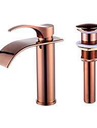 Contemporary Centerset Single Handle One Hole for  Rose Gold , Bathroom Sink Faucet