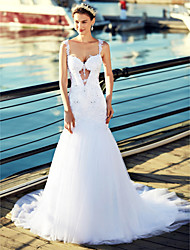 cheap -Mermaid / Trumpet Straps Chapel Train Tulle Wedding Dress with Beading Appliques by LAN TING BRIDE®