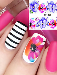 cheap -Flower Pattern Nail Water Decals Transfer Sticker Romantic Blue Red Painting Nail Art Decorations XF1405