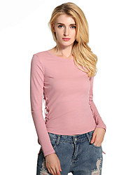 cheap -Women's Daily Casual Casual Spring Summer T-shirt,Solid Round Neck Long Sleeves Cotton Polyester