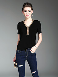 XSSLWomen's Going out Casual/Daily Beach Vintage Cute Street chic Summer T-shirtSolid V Neck Short Sleeve Cotton Medium