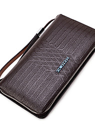 Men Wallet PU All Seasons Formal Casual Office & Career Casual Clutch Zipper Coffee Black