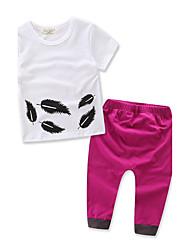 Недорогие -Для девочек Наборы 100% хлопок Мода Геометрический принт Лето Осень С короткими рукавами Набор одежды