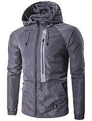 cheap -Men's Sport Daily Casual/Daily Sport Winter Spring/Fall Jacket,Solid Hooded Long Sleeve Regular Polyester