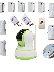 cheap -WIFI House Home Burglar Alarma Security Video HD IP Camera Alarm Systems With Wireless Smoke Detector Emergency Button