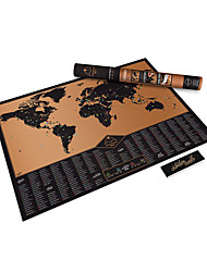 cheap -Scratch Off World Map Poster with US States and Country Flags Track Your Adventures. Includes Scratcher and Memory Notebook Perfect for Travelers