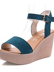 cheap -Women's Shoes Leather Summer Sandals Wedge Heel Peep Toe for Black Fuchsia Coffee Red Blue