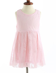 cheap -Girl's Solid Dress, Cotton Sleeveless Lace Blushing Pink