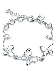 Women's Girls' Chain Bracelet Crystal Friendship Punk Rock Costume Jewelry Fashion Vintage Silver Plated Bowknot Jewelry For Wedding