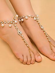 baratos -Diamante sintético Franjas Bijuteria para Pés - Imitação de Pérola Caído Fashion, Yoga Dourado / Prata Para Diário / Casual / Mulheres / Strass
