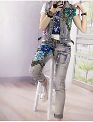 Feminino Japonesa/Curta Calça Conjuntos Casual Simples Primavera,Floral Decote Redondo Manga Curta Inelástico
