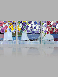 cheap -Abstract Oil Painting Colorful Flowers in The Vases Framed Handmade Oil Painting For Home Decoration