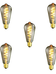5pcs Dimmable ST64 40W E27 Vintage Edison Bulb Warm White Incandescent Light Lamp Decorative Light bulb Filament Bulb AC220-240V