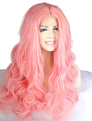 cheap -New Fashion High Quality Pink Long Wavy Natural Synthetic Wigs Hot Sale