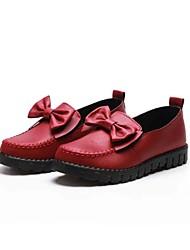 Damen Loafers & Slip-Ons Komfort Stoff Frühling Herbst Normal Walking Komfort Schleife Flacher Absatz Schwarz Burgund Unter 2,5 cm