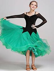 Ballroom Dance Dresses Kid's Performance Tulle Velvet Draped Splicing 1 Piece Long Sleeve Natural Dress