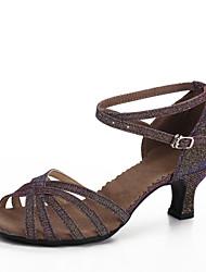 Personalizzabile Da donna Balli latino-americani Tacchi Per interni Tacco su misura Viola scuro 5 - 6,8 cm