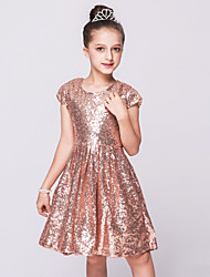 A-Line Knee Length Flower Girl Dress - Mesh Sequined Sleeveless Jewel Neck with Sequin by Bflower