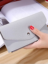 Women Checkbook Wallet PU All Seasons Casual Envelope Button Gray Ruby Blushing Pink