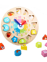 cheap -Wooden Clock Toy Educational Toy Toys Clock Education Wooden Children's Pieces