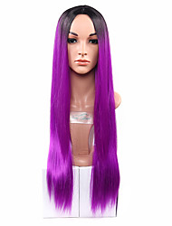cheap -Ombre Synthetic Wigs Heat Resistance Hair Wig For Female black to two tones ombre Purplr Hair Wig