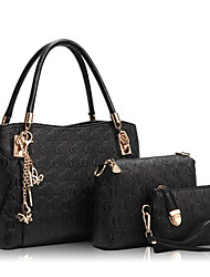 Donna Sacchetti Per tutte le stagioni PU (Poliuretano) Cotone Tote Set di borsa da 3 pezzi A fantasia / stampa Stampe Cerniera per