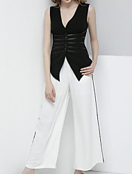 Women's Sports Going out Work Vintage Sexy Uniforms Casual Spring Summer Shirt Pant Suits,Solid Textured Sexy V Neck Sleeveless Stylish