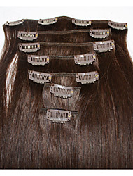 cheap -Clip In Human Hair Extensions Straight 7Pcs/Pack 16 inch 18 inch 20 inch 22 inch 24 inch