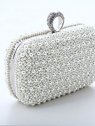 Women Bags All Seasons Special Material Evening Bag with Rhinestone Chain Mini Spot for Wedding Event/Party Formal White Blushing Pink