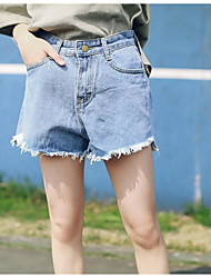 Women's Mid Rise Micro-elastic Shorts Pants,Simple Wide Leg Solid
