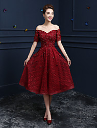 cheap -A-Line Off Shoulder V-Wire Tea Length Beaded Lace Cocktail Party / Homecoming / Prom Dress with Sequin Appliques by LAN TING Express