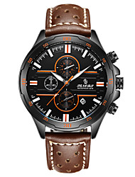 cheap -Men's Sport Watch Japanese Quartz 30 m Water Resistant / Water Proof Calendar / date / day Genuine Leather Band Analog Fashion Brown - Green Blue Light Green