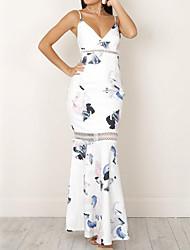 Недорогие -Для женщин На выход Простое Оболочка Платье Цветочный принт,V-образный вырез Макси Без рукавов Полиэстер Лето Со стандартной талией