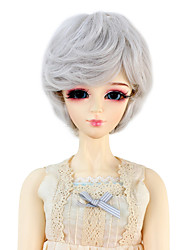 Synthetic Doll Accessories Short Wavy Light Sliver Grey Color Hair for 1/3 1/4 Bjd SD DZ MSD Doll Costume Wigs Not for Human Adult