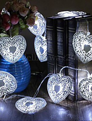 1.2M10LED Battery Operated Heart Shaped Christmas String Light Festival Party Wedding Decor Indoor/Outdoor Warm White Fairy Light