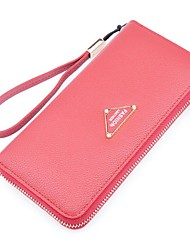 Women Checkbook Wallet PU Polyester All Seasons Shopping Daily Casual Rectangle Zipper Pale Pink Gray Purple Ruby Green