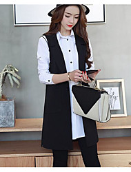 Women's Casual/Daily Simple Spring Vest,Solid V Neck Sleeveless Long Cotton