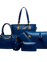 Women Bags All Seasons Cowhide Bag Set 5 Pcs Purse Set for Casual Office & Career Black Beige Blue Champagne
