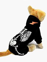 Hund Overall Hundekleidung Halloween Totenkopf Motiv Schwarz Rot