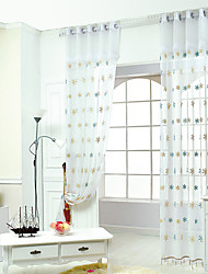 Rod Pocket Grommet Top Curtain Patterned Pastoral , Embroidery Embroidered Living Room Material Sheer Curtains Shades Home Decoration