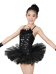 cheap -Ballet Tutus Women's Performance Tulle / Sequined / Feather Sequin / Feathers / Fur / Lace Sleeveless High Fairies Leotard / Onesie / Skirt / Gloves / Modern Dance