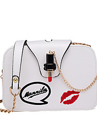 cheap -Women's Bags PU Crossbody Bag Metal Chain White / Black / Blushing Pink