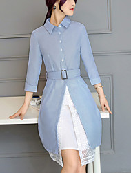 Women's Going out Work Street chic Fashion Slim Two Piece Shirt Dress Lace Striped Jacquard Shirt Collar Knee-length Cotton /Polyester Spring /Fall