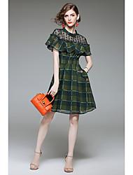 cheap -QIN QIN Women's Vintage Cute A Line Sheath Dress - Plaid, Ruffle
