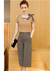 Women's Other Casual Other Casual Summer Blouse Pant Suits,Solid Striped V Neck Short Sleeve